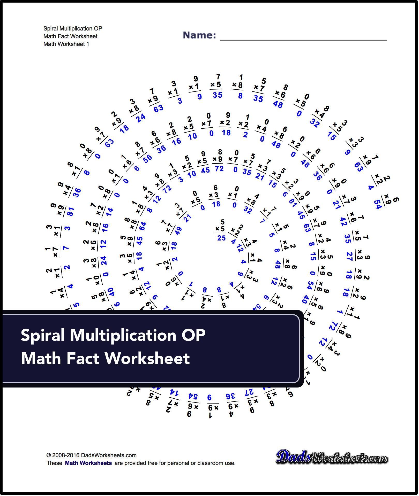 Multiplication Worksheets For Spiral Multiplication Op