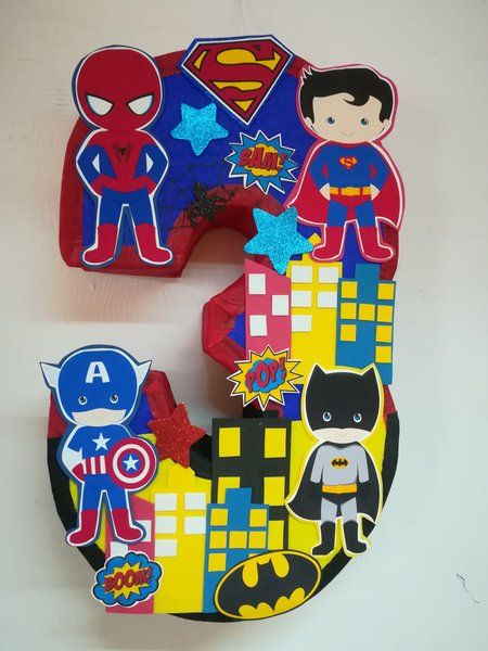 Inspired Super Heroes Pinata Number Decorated Birthday
