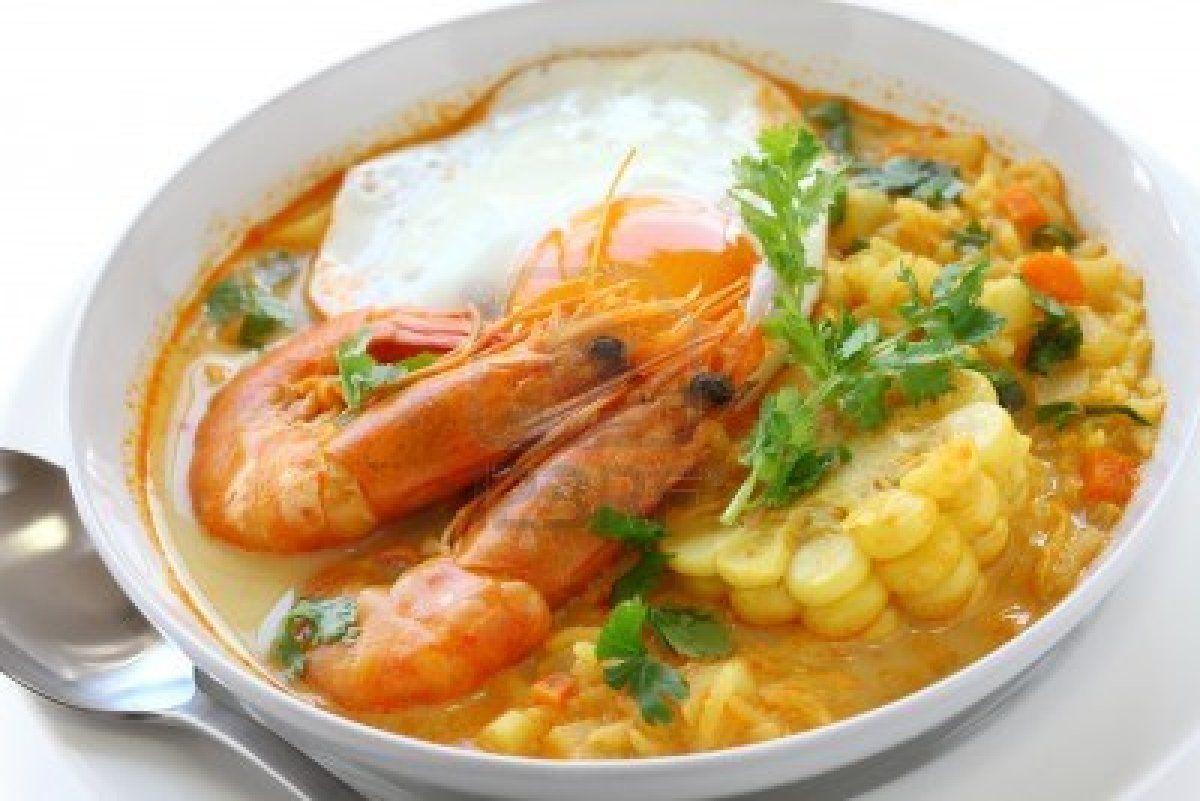 Image detail for -chupe de camarones, sopa de camarones peruano Foto de archivo
