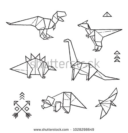 Black And White Prehistoric Tattoos Dinosaurs Origami Set In