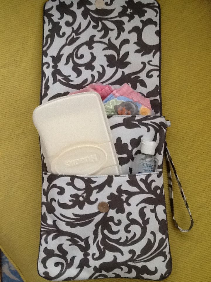 Turn a cute IPAD case into a travel diaper case.  Love this and affordable.  Www.Thepoppyseedgifts.com