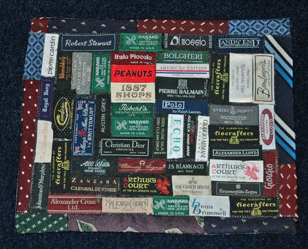 Quilt Label from necktie labels by goosetracks, via Flickr~I've been saving mine...glad someone else does too!~sng