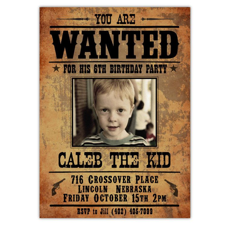 Wanted Outlaw Invitations (A) | Western parties, Surprise birthday ...