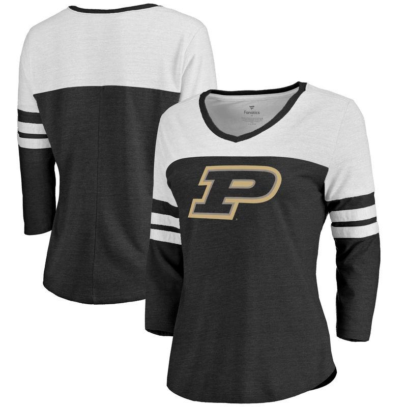 premium selection 1d160 9308a Purdue Boilermakers Fanatics Branded Women s Primary Logo Color Block 3 4  Sleeve Tri-Blend