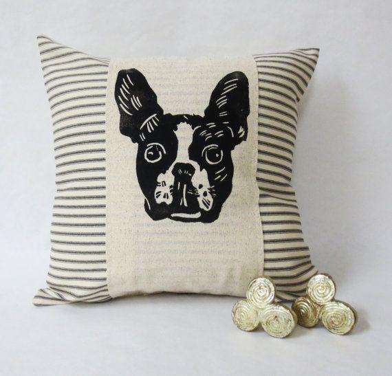 Boston Terrier Face Hand Block Print Pillow Decorative