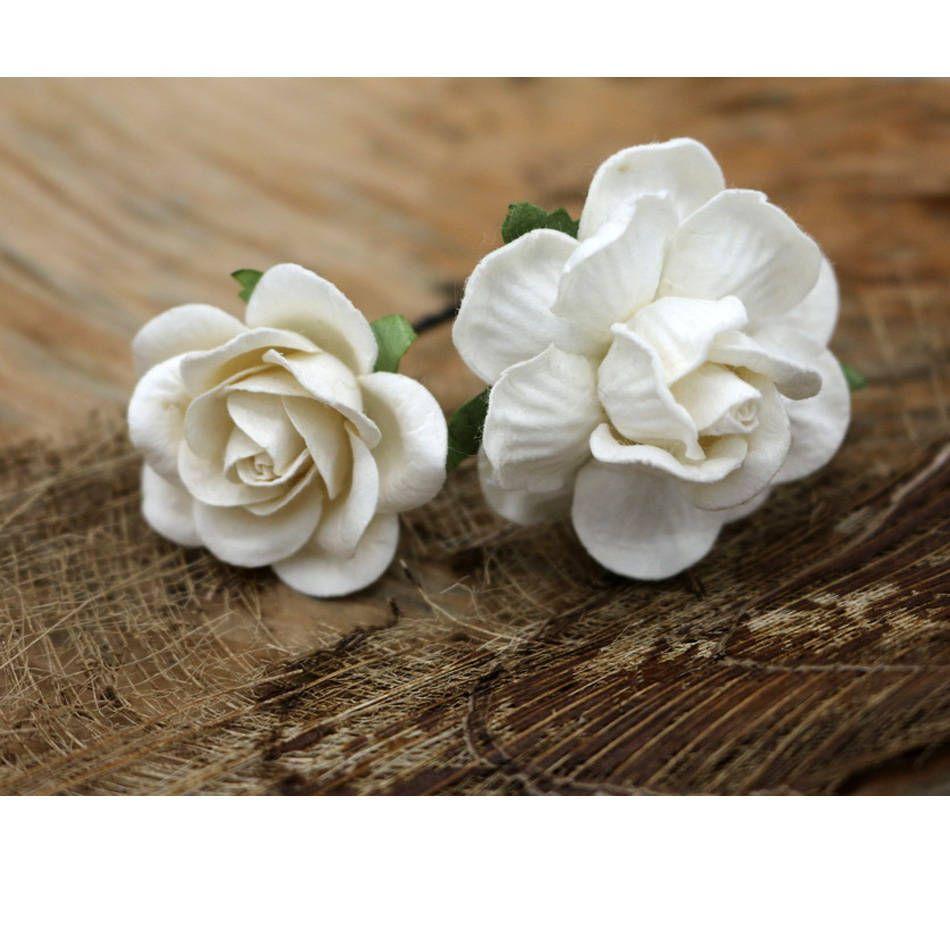 White Roses Mulberry Paper Flower Hair Pins Bridal Hair Pins