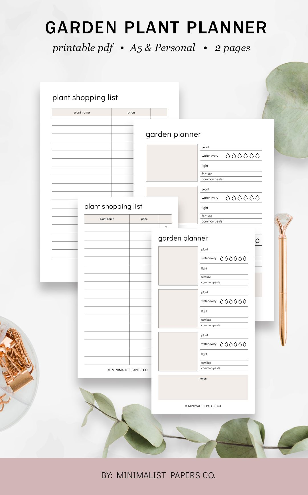 Garden Plant Planner And Gardening Planner Garden Planner And Garden Journal Plant Planner And Plant Tracker In A5 And Personal Size In 2020 Planner Garden Planner Printable Planner