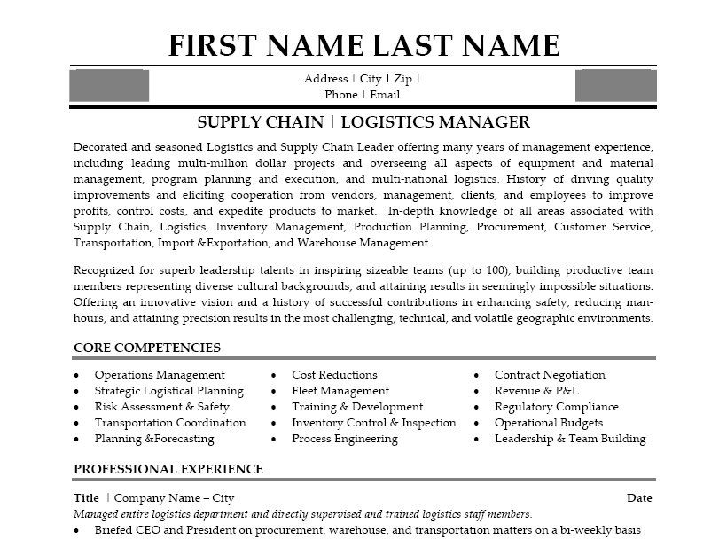 Logistics Manager Resume Template or Sample Resume for Food Service