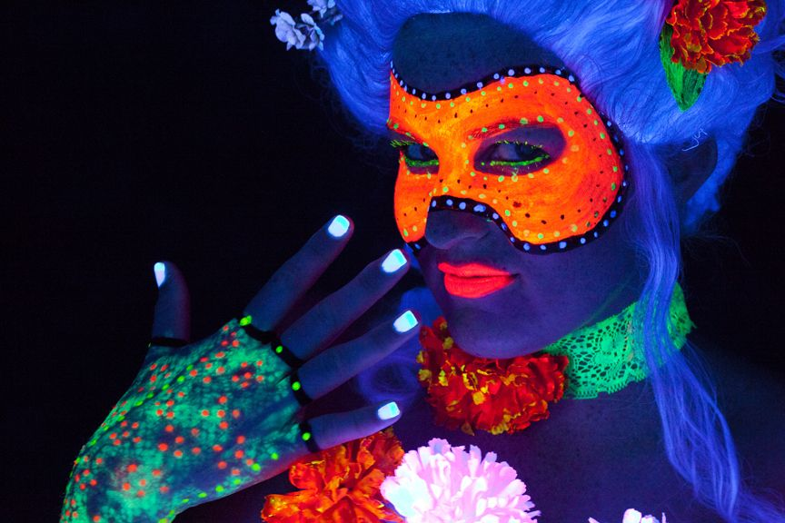 10 Easy Halloween Costume Ideas Using Only Black Light Makeup Black Light Makeup Easy Halloween Costumes Light Makeup