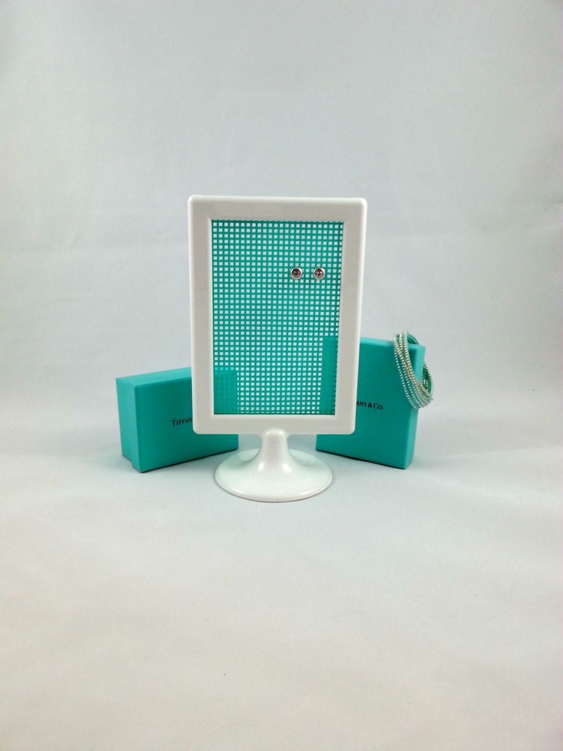 White & Tiffany Blue Earringanizer; Jewelry Rack; Earring Holder; Stud  Holder By