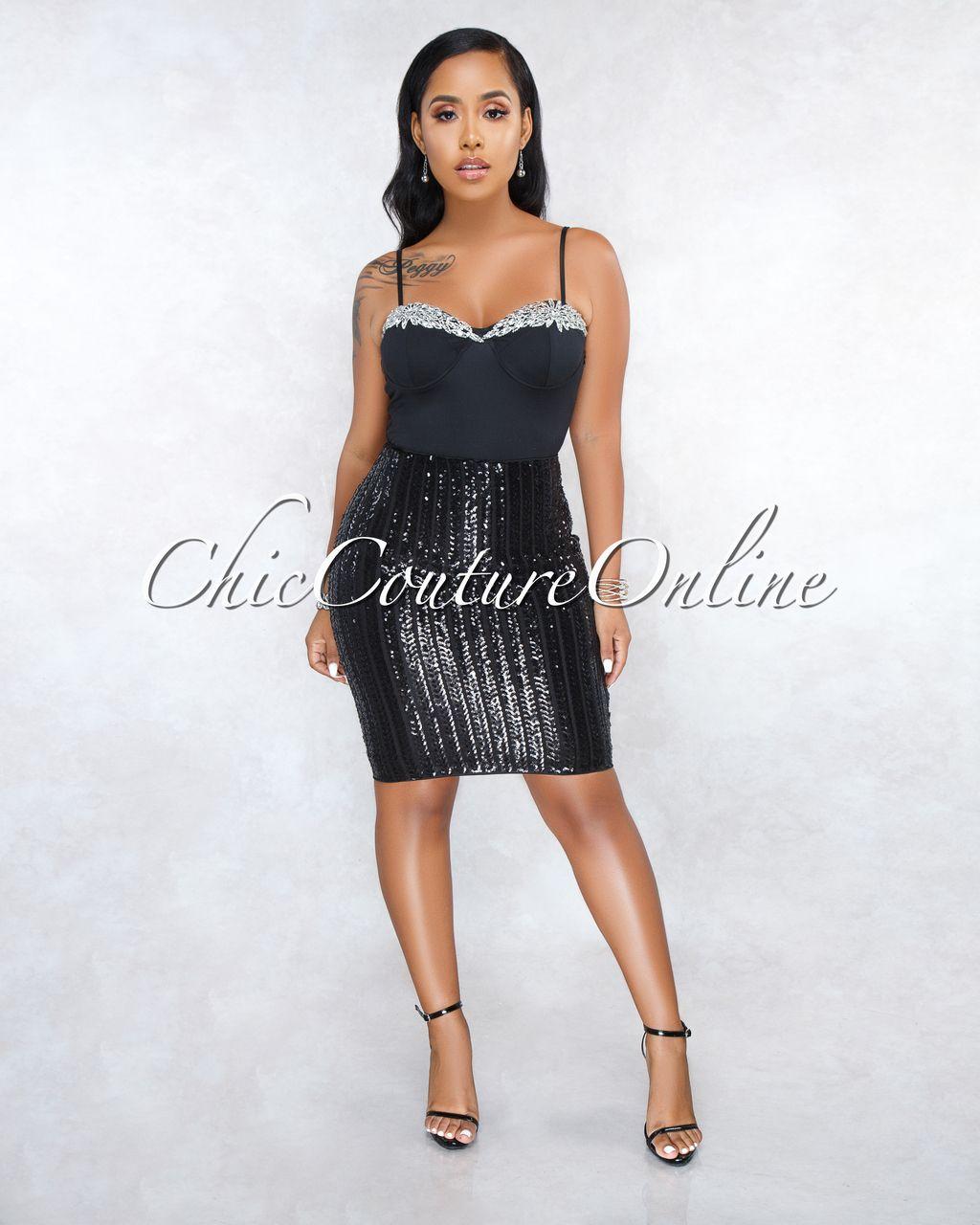 9d973f78d8f Chic Couture Online - Angie Black Sequins Stripes Pencil Skirt