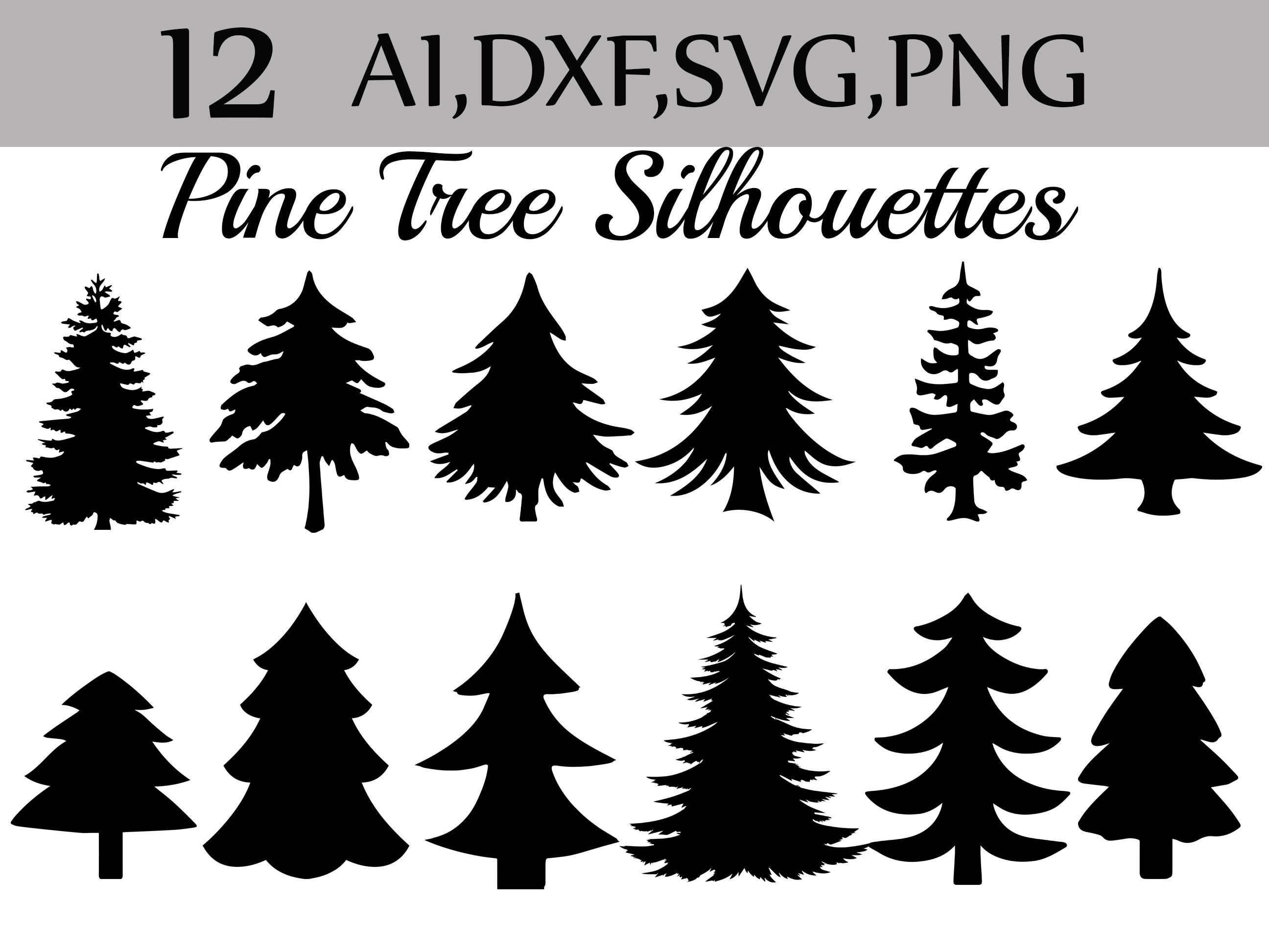 "Svg Pine Tree clipart ""SILHOUETTES PINE TREE"" Christmas"