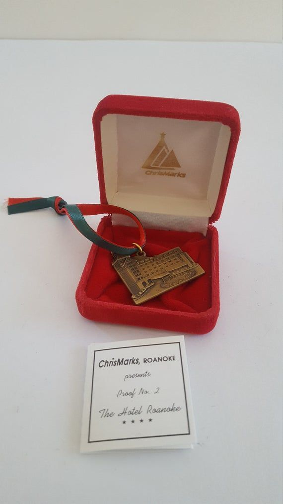 Vintage circa 1990s Hotel Roanoke brass keychain fob by ChrisMarks and named Proof No2 presentation box and ribbon1990s
