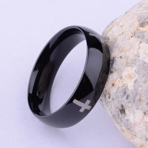 Mysterious Black With Cross Tungsten Fashion Ring for Men