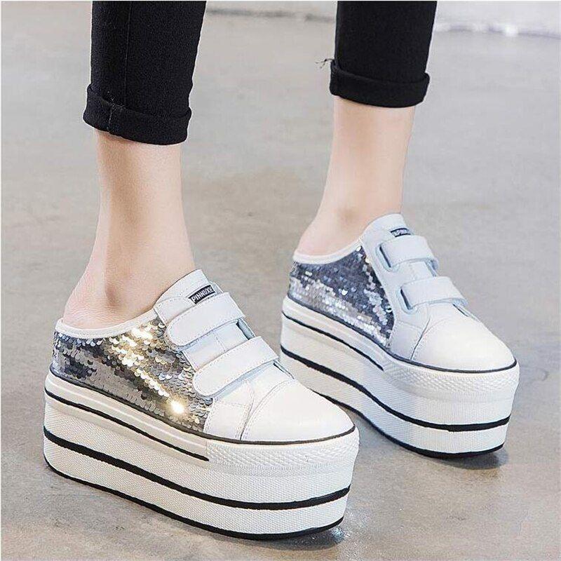 Shiny Platform Shoes Half Slippers