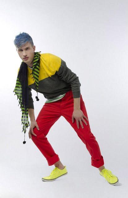 Neon Love  Photographer: Vanessa DeZutter  Stylist: Carmen Tsang  Model: Aleks, I Model Management  colours, bright, bold, editorial, fun, men's apparel