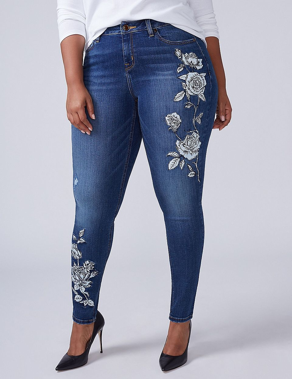 d5e693bb01e Super Stretch Skinny Jean - Floral Embroidery
