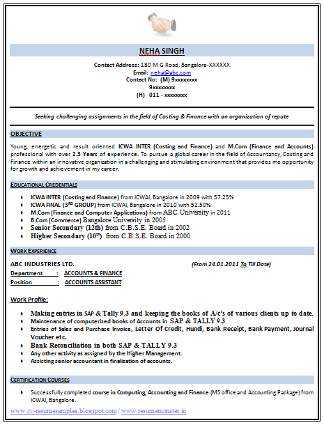 example template of an excellent icwa and m com resume