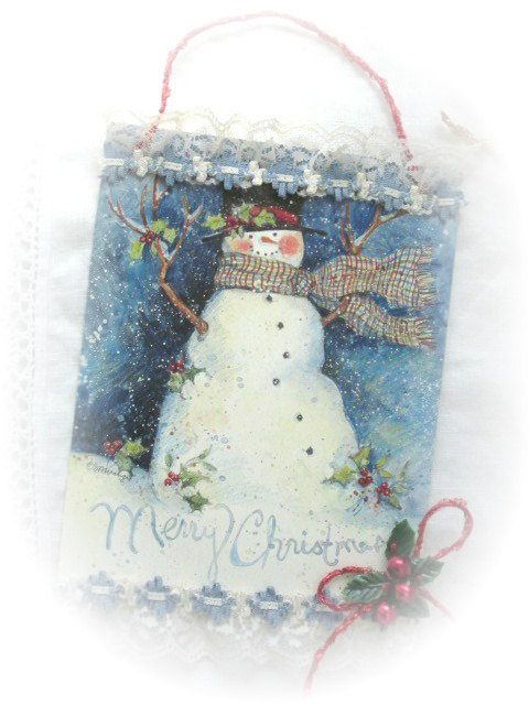 Shabby Sweet Repurposed MERRY Christmas Card by RoseChicFriends, $3.99