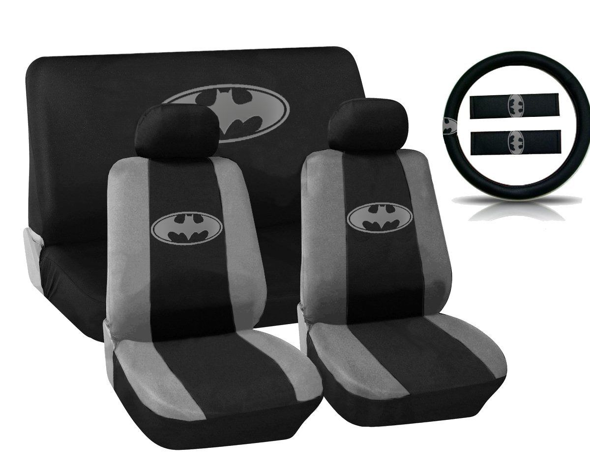 batman car chair cardboard table and chairs amazon gray silver logo on black seat