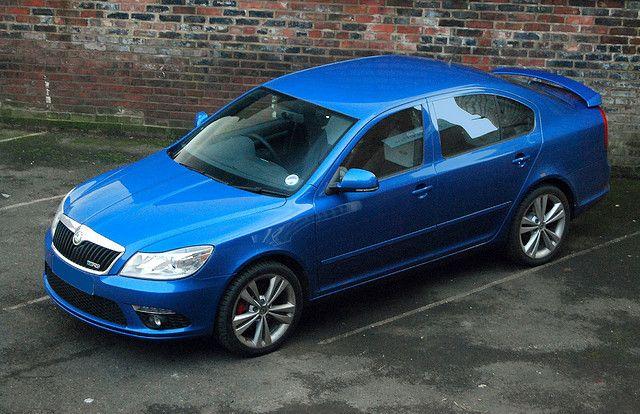 Skoda Vrs Octavia Facelift In Race Blue Automobile Car Blue