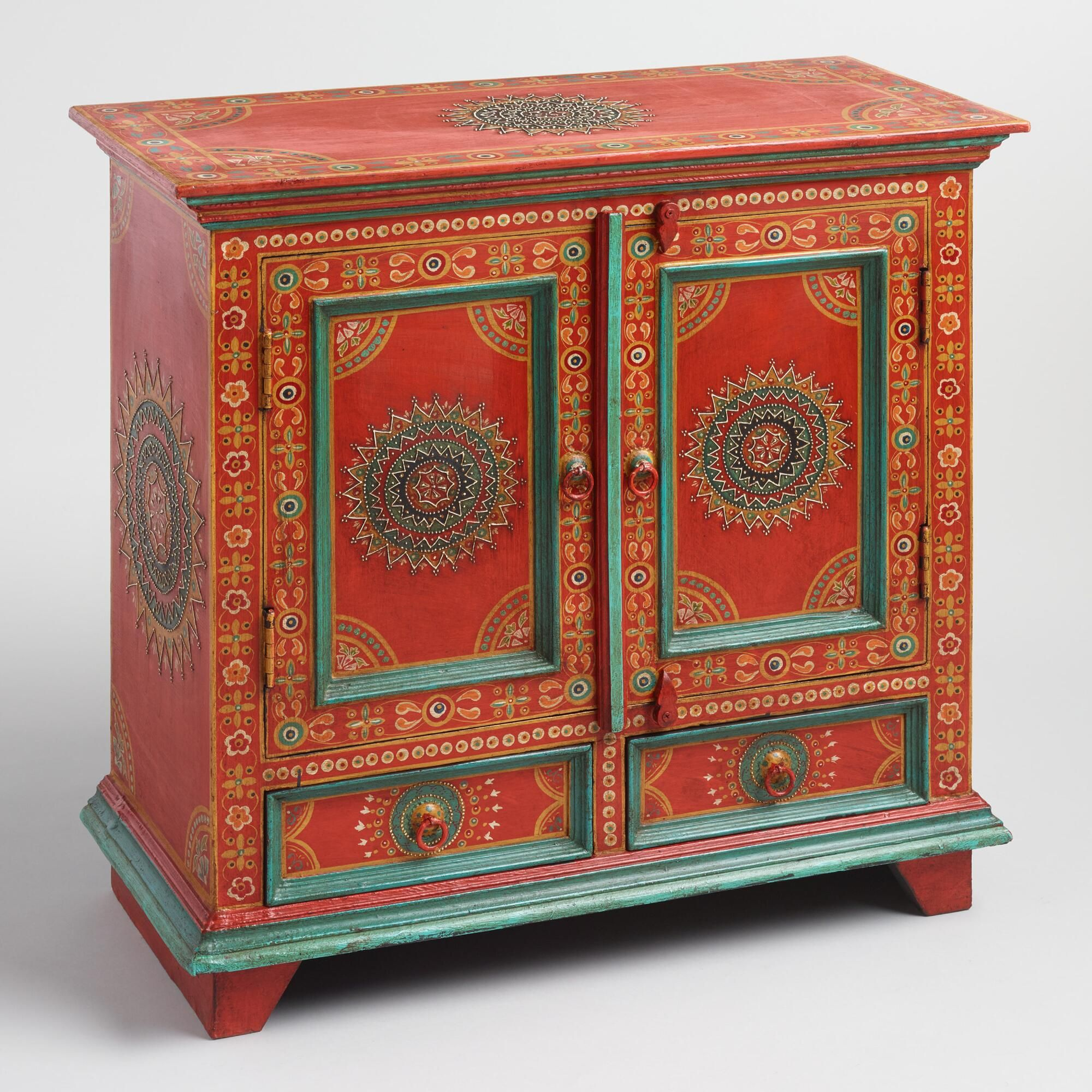 Our Hand Painted Cabinet In Rich Red Is Elaborately Embellished With Traditional  Indian Floral Designs