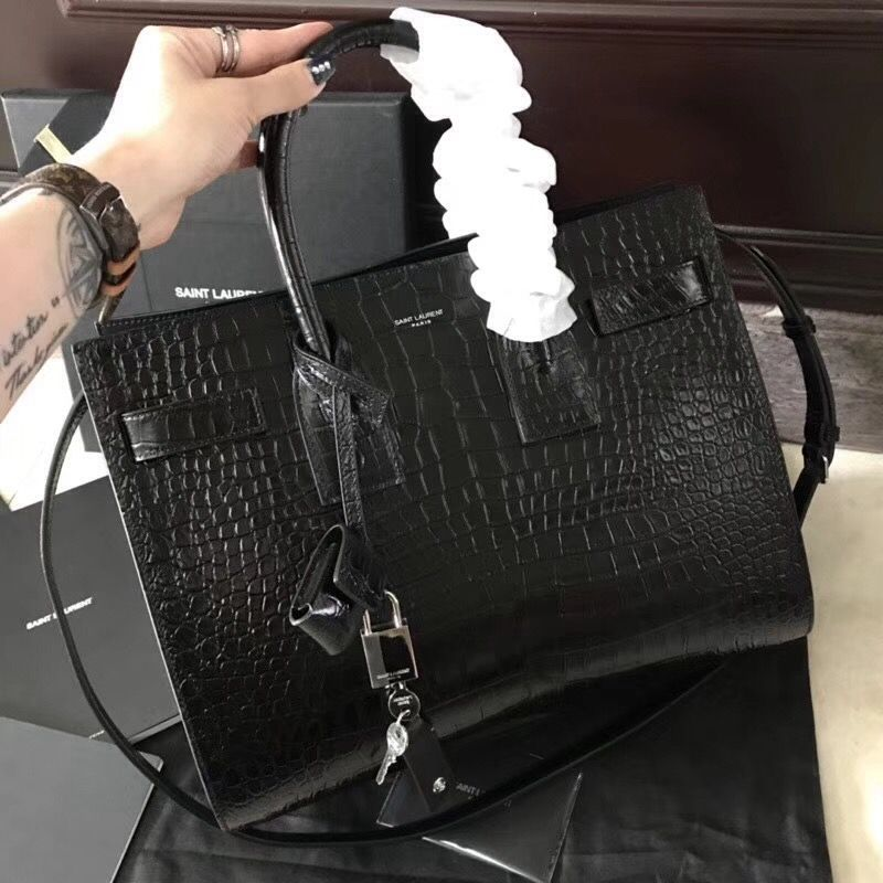 286fbefec92 Saint Laurent 378299 Classic Small Sac De Jour Bag in Embossed Crocodile  Shiny Leather Black 2018