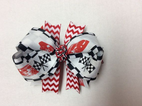 4.5 Checkered flag white red and black racecar by CheerGirlBows, $10.00