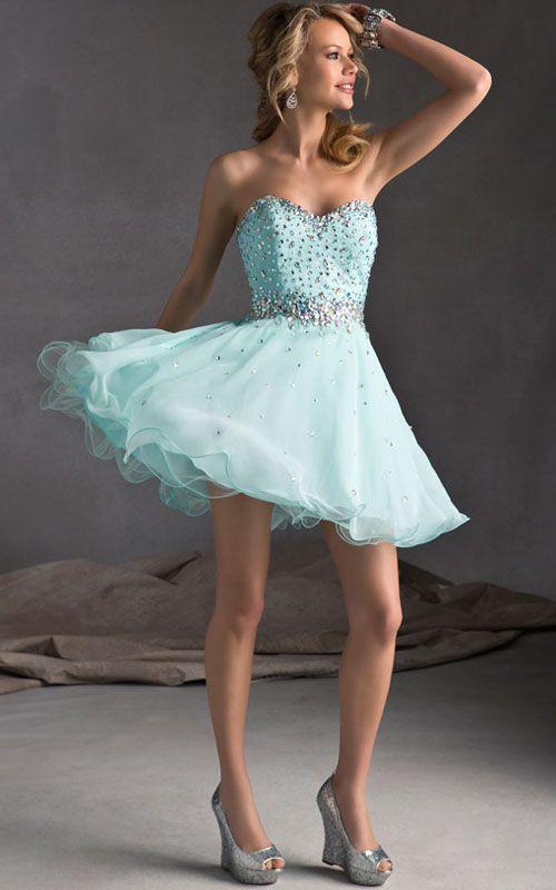 Rhinestone Sweetheart Mori Lee 9240 Short Dress Light Blue | Blue ...