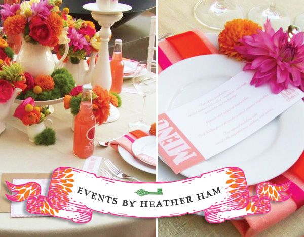 orange, melon, hot pink colors for party decor....just yummy!