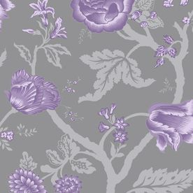 Allen Roth Grey Purple Silver Strippable Non Woven Prepasted Classic Wallpaper