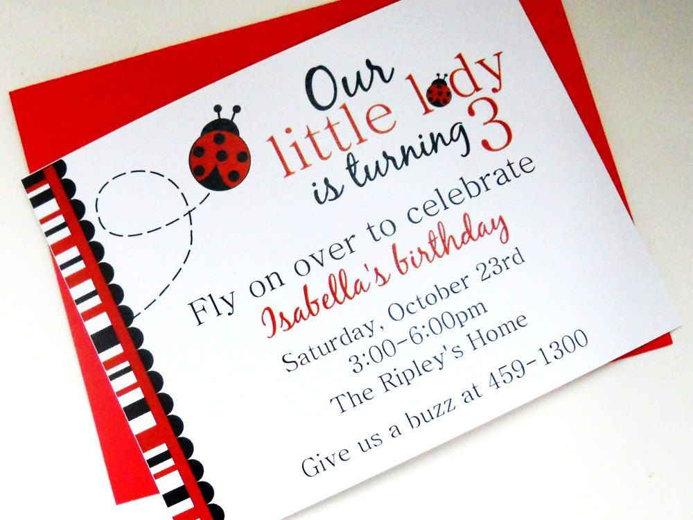 Ladybug Birthday Invitations Childrens Party Red Black Bugs