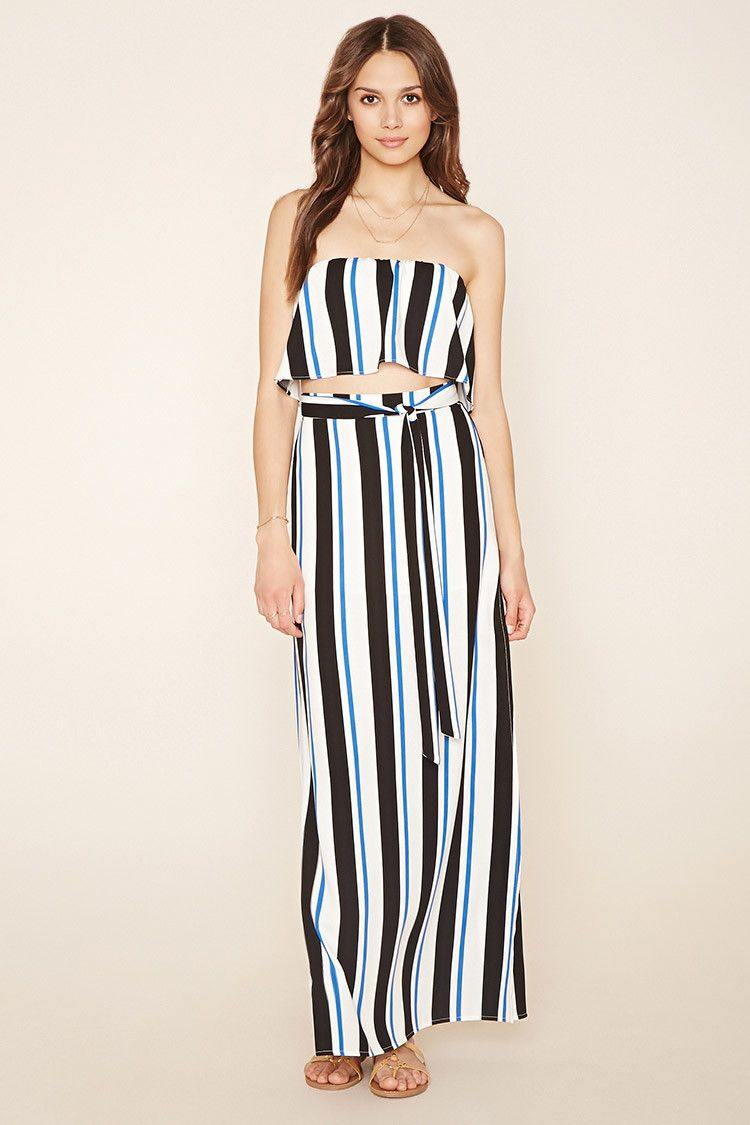 ff00be6eef Forever 21 Contemporary - A woven maxi skirt featuring an allover stripe  print