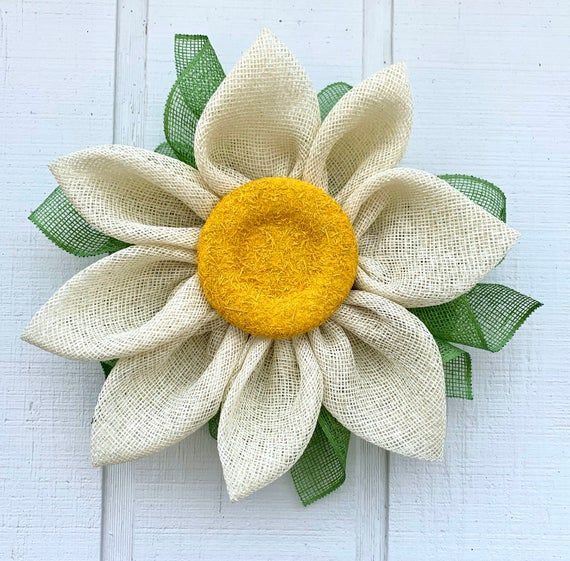 Photo of Sunflower wreath for front door, sunflower wreath poly burlap, spring and summer sunflower wreath, daisy wreath, daisy decor
