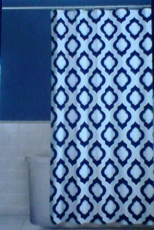Comfort Bay Aileen Grey Fabric Shower Curtain Blue Green Tan