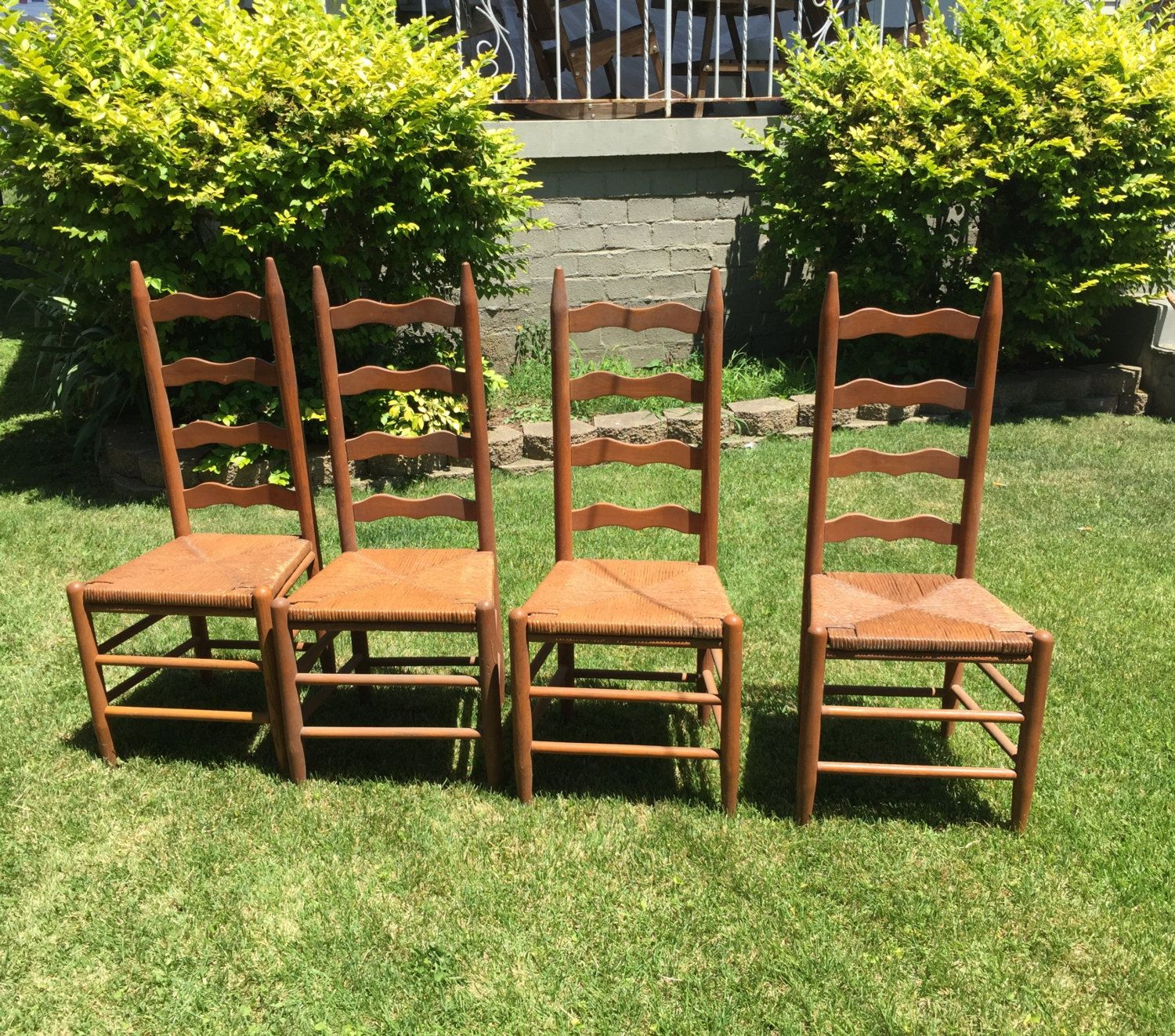 Vintage Ladder Back Chairs, Sturdy, Show Minimal Wear, Beautiful Tall Back  Chair with Rush Seats, Four Chairs sold seperately, Bargain Price by ... - Vintage Ladder Back Chairs, Sturdy, Show Minimal Wear, Beautiful