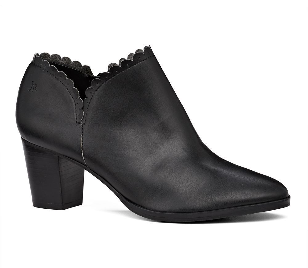 Marianne Bootie | Black Leather Scalloped Bootie | Jack Rogers