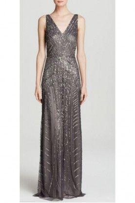 Designer Adrianna Papell Dresses Beaded Formal Dress Grey Gown Formal Dresses Long
