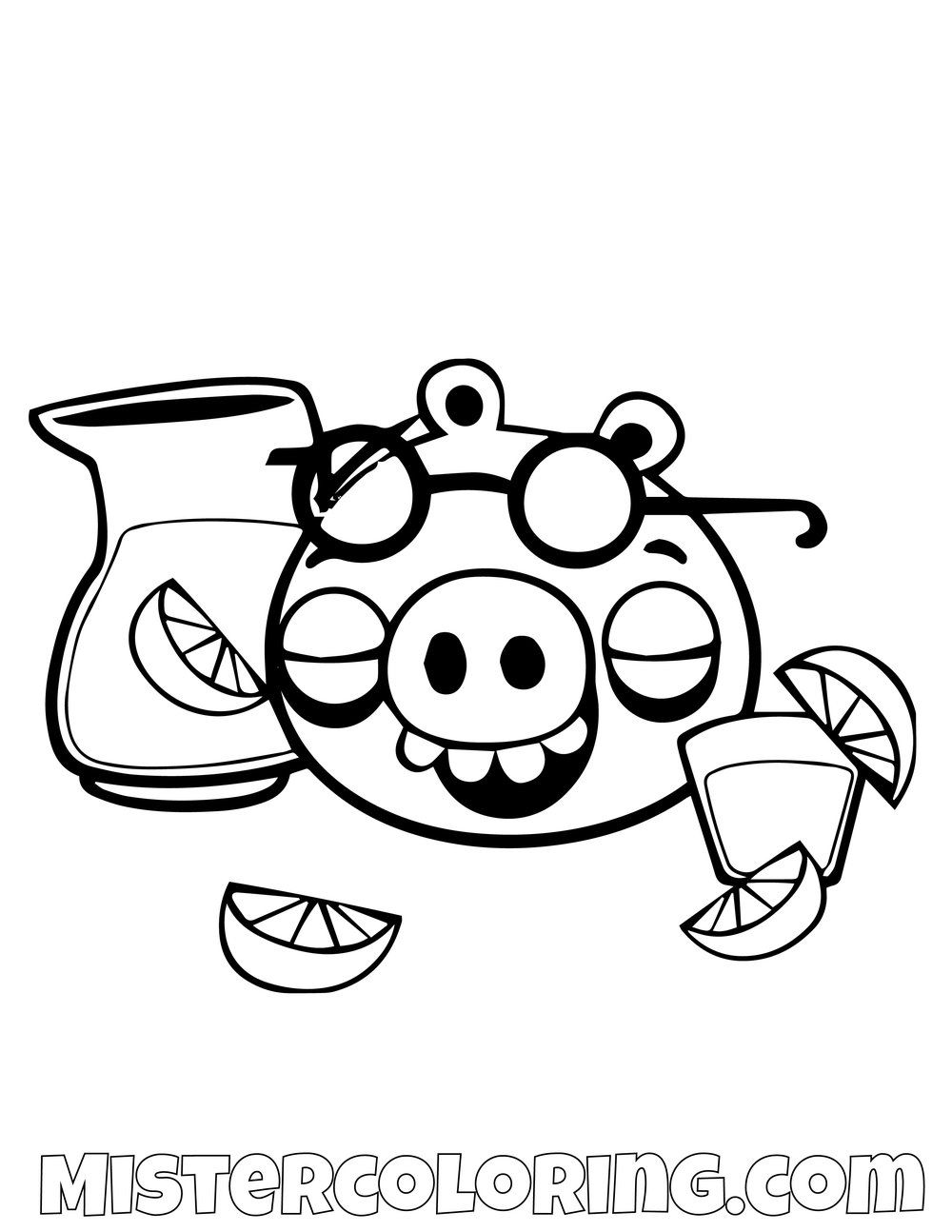 Pig Drinking Lemonade Angry Birds Coloring Pages Bird Coloring
