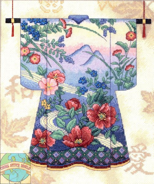 Japanese Red Gold Floral Asian Kimono Counted Cross Stitch Chart Pattern