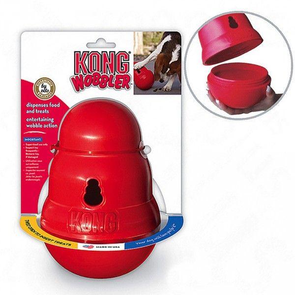 Kong Wobbler  Este juguete es ideal para entretener a tu perro. Es un dispensador de comida o golosinas con la forma del clásico juguete Kong, tan apreciado por muchos propietarios de mascotas.