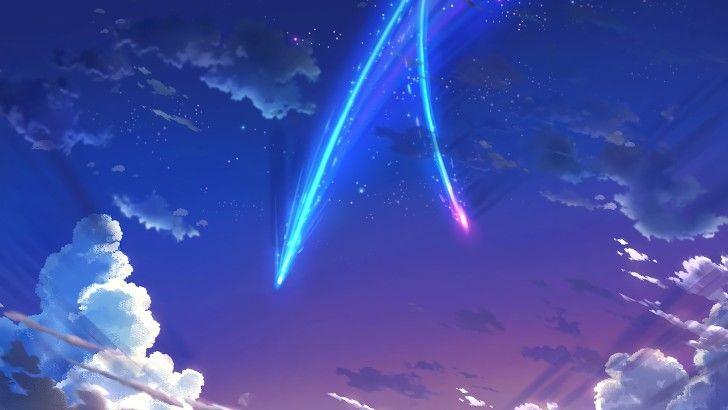 Your Name Anime Scenery Sky Stars Comet Clouds Wallpaper Wallpaper Ponsel Ilustrasi Poster Gambar