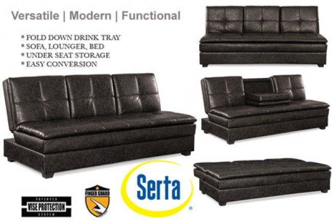 Serta Kingsley Three Seater Breathable Soft Leather Fabric Sofa Bed ...
