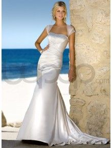 Angel Satin A-line Cap Sleeves Neckline Wedding Dress