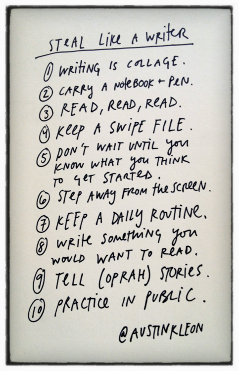 How to be a writer, in handy list form.