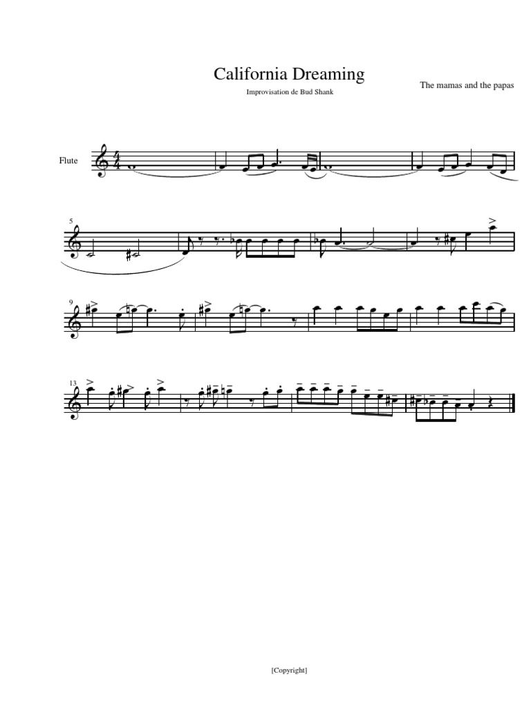 california dreaming flute solo sheet music