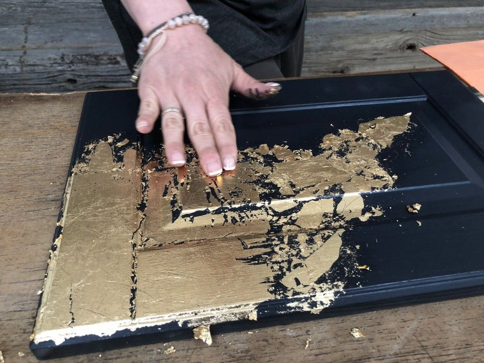 How To Apply Gold Leaf To Furniture is part of Gold leaf furniture, Spray paint furniture, Painting ikea furniture, Gold painted furniture, Gold furniture, Paint furniture - Gold leaf is huge right now in the furniture world and we want to share with our Fusion loves HOW to apply gold leaf to furniture painted with Fusion Mineral Paint  These tips will walk you through how to apply gold leaf