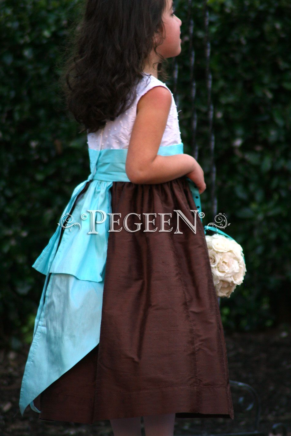 Tiffany Blue And Chocolate Brown Silk Flower Girl Dress By Pegeen