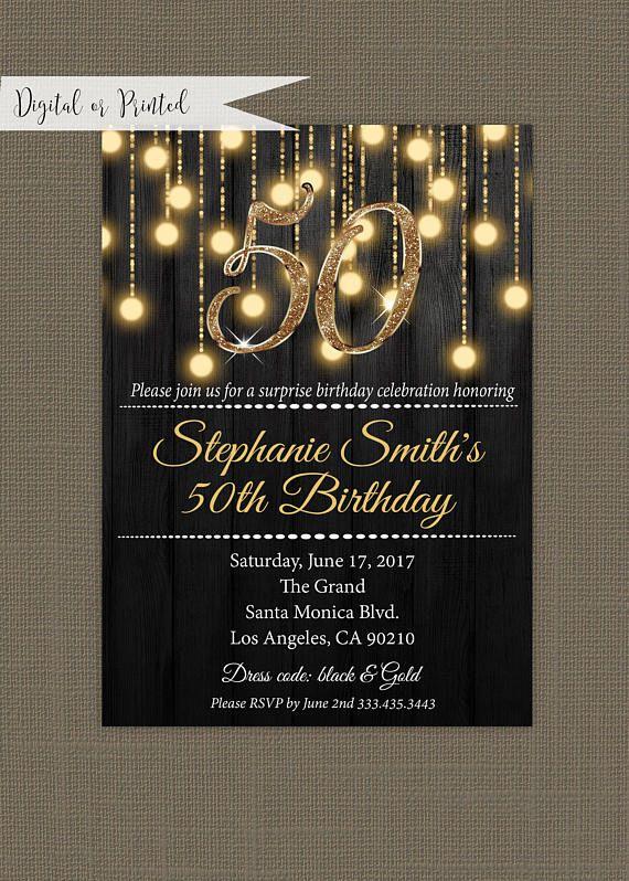 Elegant Gold Black 50th Birthday Surprise Party In Invitation Zazzle Com Surprise 50th Birthday Party 50th Birthday Surprise 50th Anniversary Invitations