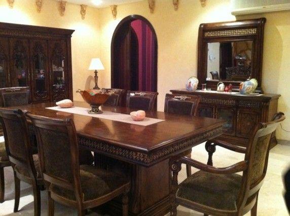طاولة طعام 8 أشخاص دولاب بوفيه بمرايا اللون بني Dining Table Home Decor Home